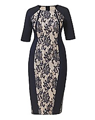 AX Paris Navy and Nude Lace Panel Dress