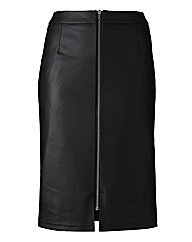 Zip Front Detail Midi Skirt