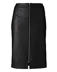 Zip Front Detail Midi Skirt