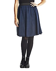 Denim Kick Out Midi Skirt