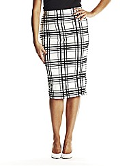 Black And White Flock Print Midi Skirt