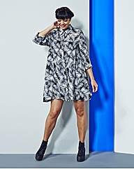 Alice And You Swing Feather Shirt Dress