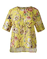 Alice And You Yellow Floral Low Hem Top