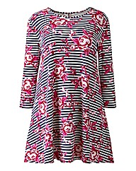 AX Paris Stripe Floral Print Swing Dress