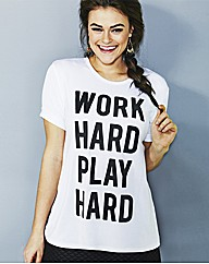 Simply Be Work Hard Play Hard T Shirt