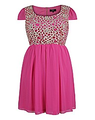 Koko Pink Lace Bodice Dress