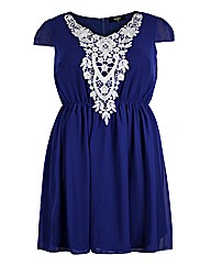 Koko Navy Lace Trim Skater Dress