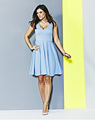 Light Blue Jacquard Skater Dress