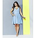Light Blue Jacquard Skater Dress