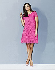 AX Paris Pink Lazer Cut Tunic Dress
