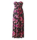 AX Paris Rose Print Slinky Maxi Dress