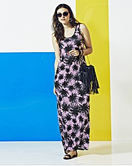Simply Be Palm Print Jersey Maxi Dress