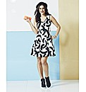 Monochrome Brush Stroke Skater Dress