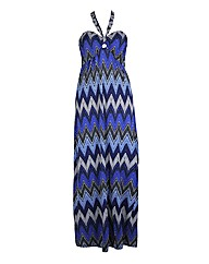 Koko Blue Zig Zag Printed Maxi Dress