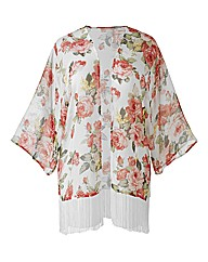 AX Paris White Floral Tassel Kimono