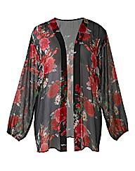 AX Paris Dark Rose Print Kimono