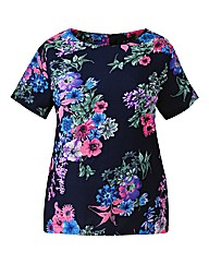 AX Paris Navy Floral Shell Top