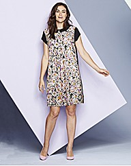 Printed Daisy Collar Tunic Dress