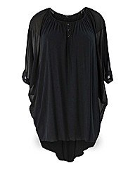Koko Black Jersey And Chiffon Blouse