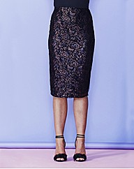 Simply Be Metallic Lace Skirt