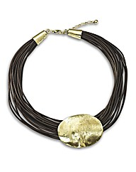 Malissa J Battered Disc Short Necklace