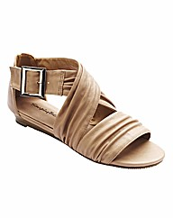 Simply Be Cross Over Wedge Sandals EEE