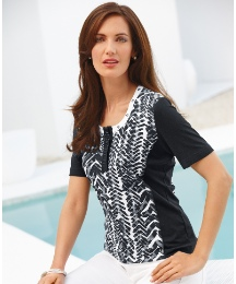 Gerry Weber Short Sleeve Stud Trim Top