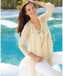 Gelco Linen Waterfall Slub Knit Cardigan