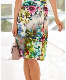 Basler Mock Wrap Jersey Skirt