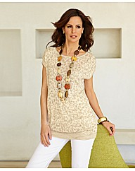 Olsen Jacquard Knit Short Sleeve Tunic