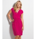 Chianti Pleated V-Neck Jersey Dress