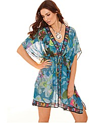 Gottex Sheer Tie Front Kaftan Cover Up