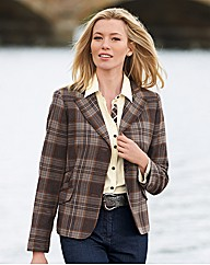 Wool Mix Check Blazer
