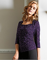 Lace Print Sequin Jersey Top