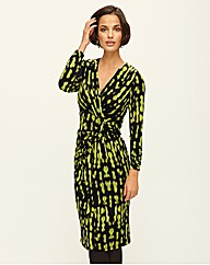 Gold Printed Mock Wrap Dress