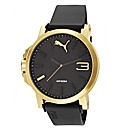 Puma Black Dial and Gold Tone Case Watch