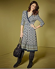 Fusions By East Print Wrap Dress 43in
