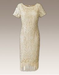 Cream Fringe Lace Dress
