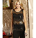 Joanna Hope Sequin Fringe Jersey Top