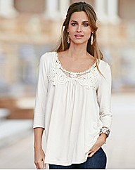 Changes By Together Lace Trim Jersey Top