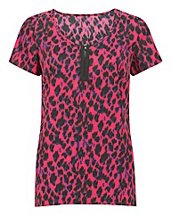 Joanna Hope Animal Print Woven T-shirt