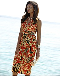 Joanna Hope Scroll Print Belted Dress