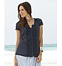Joanna Hope Lace Trim Gypsy Blouse