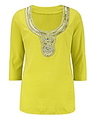 Joanna Hope Embellished Jersey Top