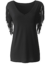 Joanna Hope Fringe Sleeve Jersey Top