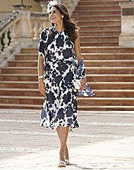 Joanna Hope Print Peplum Dress and Scarf