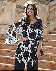 Joanna Hope Bow Trim Print Tunic