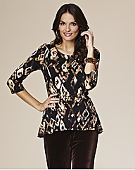 Joanna Hope Print Peplum Jersey Top