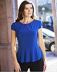 Joanna Hope Jersey Peplum Top