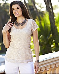 Joanna Hope Lace Peplum Top